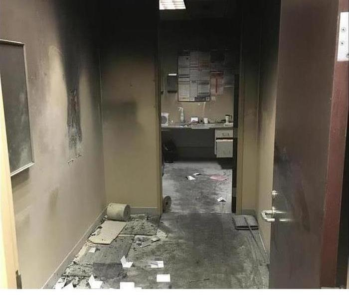 smoke damaged office