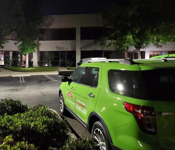 SERVPRO vehicle on a night time service call