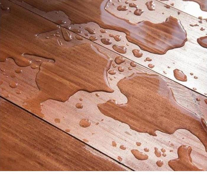 water drops on hardwood floor