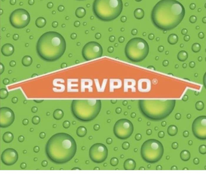 SERVPRO logo with light green background and water spots
